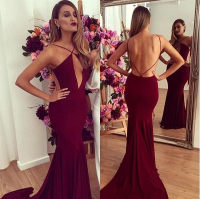 Burgundy Sexy Open Back  Party Dresses  Mermaid Sweep Train Evening Gowns_3