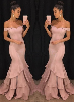 Pink Off-the-Shoulder Mermaid Prom Dresses  Tiered Simple Evening Gowns SK0118-GA0_1