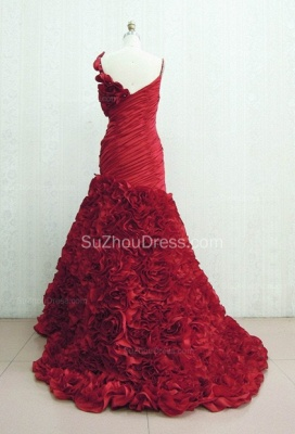 Red Spaghetti Straps Quinceanera Dresses  Ruffle Sweep Train Sleeveless Prom Gowns with Handmade Flower_2