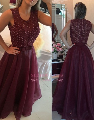 Burgundy Organza Pearls A-Line Prom Dresses |  Modern Sleeveless Evening Dresses with Beadings_1