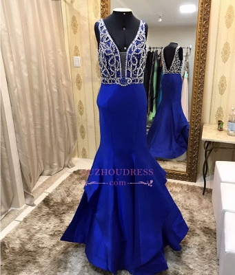 Royal Blue Crystal Prom Dress | Ruffles Mermaid Straps Sleeveless Evening Gowns_1