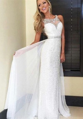 Latest Crystal Sheath  Prom Dress with Beadings Sequined Floor Length Evening Gown_4