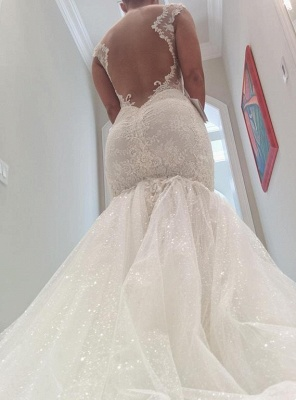 Sexy Mermaid Tulle Open Back  Wedding Dresses Spagheeti Strapless Lace Bridal Gowns_4