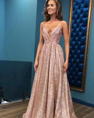 Sexy Sequins Simple Spaghetti Straps Evening Dresses | 2019  Open Back Sleeveless Prom Dress_2