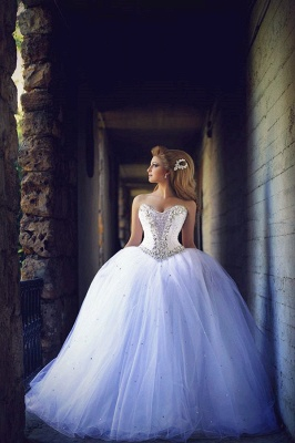 Sweetheart Crystal Tulle Ball Gown Wedding Dresses Lace-up Custom Made Princess Bridal Dresses with Crystals MH004_1