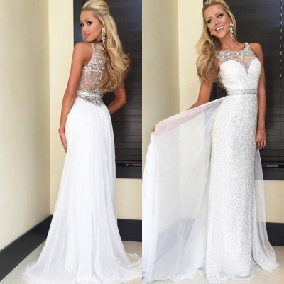 Latest Crystal Sheath  Prom Dress with Beadings Sequined Floor Length Evening Gown_1