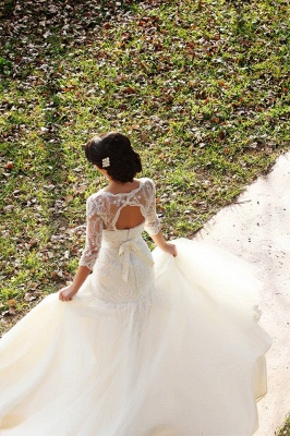 Half Sleeve Mermaid Wedding Dress with Lace Tulle Long Train Bridal Gown_4