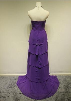 Sweetheart Purple Tieded  Evening Dresses Zipper Sleeveless Glorious Bridesmaid Dresses_2