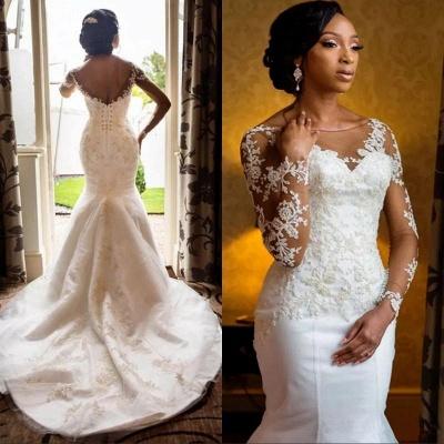 Mermaid Lace Wedding Dresses  | Open Back Long Sleeve Sexy Wedding Dresses_3