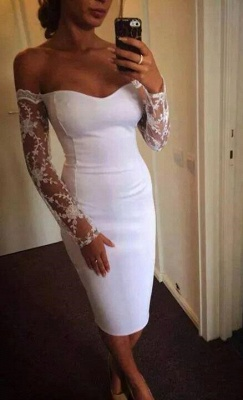 White Sweetheart Long Sleeve Cicktail Dress Lace Knee Length Evening Dress BA6793_1