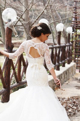 Half Sleeve Mermaid Wedding Dress with Lace Tulle Long Train Bridal Gown_3