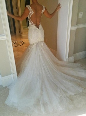Sexy Mermaid Tulle Open Back  Wedding Dresses Spagheeti Strapless Lace Bridal Gowns_3