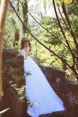 Sweetheart Crystal Tulle Ball Gown Wedding Dresses Lace-up Custom Made Princess Bridal Dresses with Crystals MH004_2