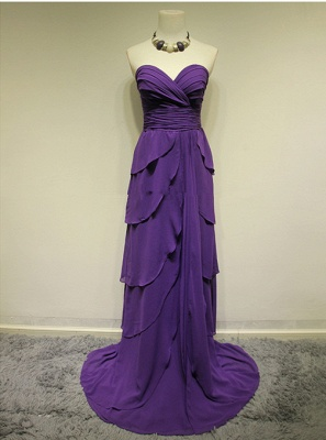 Sweetheart Purple Tieded  Evening Dresses Zipper Sleeveless Glorious Bridesmaid Dresses_1