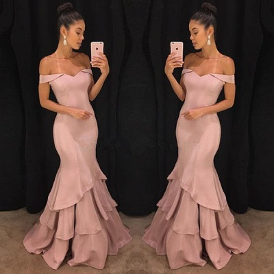Pink Off-the-Shoulder Mermaid Prom Dresses  Tiered Simple Evening Gowns SK0118-GA0_3
