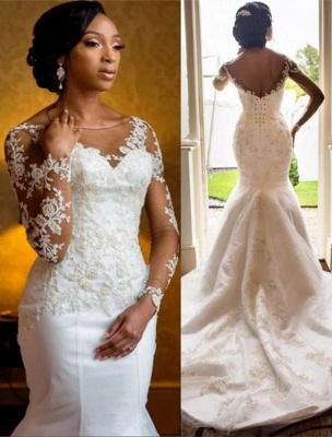 Mermaid Lace Wedding Dresses  | Open Back Long Sleeve Sexy Wedding Dresses_1