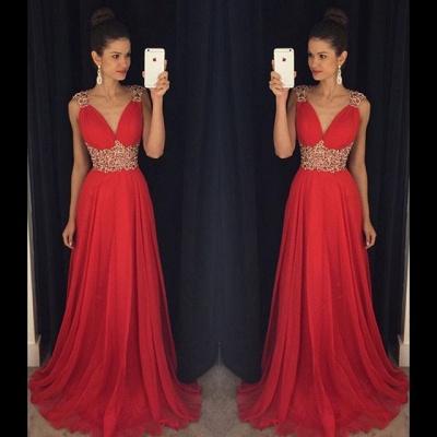 Elegant V-Neck Empire Beading Prom Dress Crystal Open Back Chiffon Evening Gown GA014_3