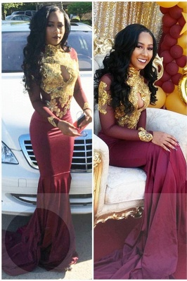 High Neck Gold Appliques  Sexy Prom Dress | Open Back Sheath Burgundy Evening Dress with Keyhole FB0342_1