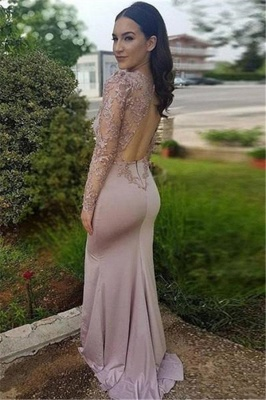 Long Sleeve Lace Prom Dresses |  Prom Dress with Open Back_3