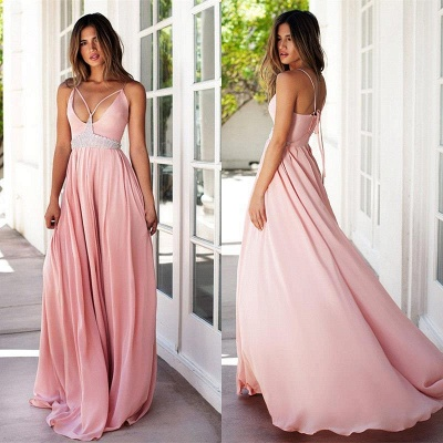Pink Spaghetti Strap Empire Summer Dresses Crystal Chiffon Long Prom Gowns_4