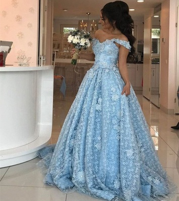 Elgant Off-the-Shoulder Blue Evening Dresses  Lace Appliques Prom Dresses_3