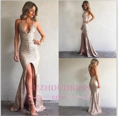 Mermaid Backless Sexy Formal Ball Dresses  V-Neck Front Split Sequined Evening Gown_4