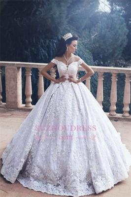 Lace Appliques Princess Bride Dress Luxurious  Off-The-Shoulder Ball-Gown Wedding Dress_1