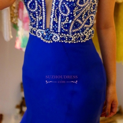 Royal Blue Crystal Prom Dress | Ruffles Mermaid Straps Sleeveless Evening Gowns_4