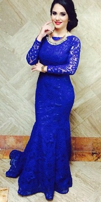 Blackless Royal Blue Lace  Long Prom Dresses with Fishtail Long Sleeves Sexy Evening Dresses BO9674_1