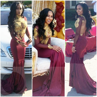 High Neck Gold Appliques  Sexy Prom Dress | Open Back Sheath Burgundy Evening Dress with Keyhole FB0342_3