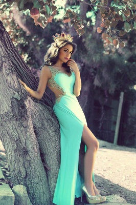 Sexy Mint Chiffon Long Evening Dress with Beadings V-Neck Side Slit Applique Prom Dress for Women MH012_2