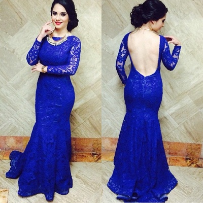 Blackless Royal Blue Lace  Long Prom Dresses with Fishtail Long Sleeves Sexy Evening Dresses BO9674_2