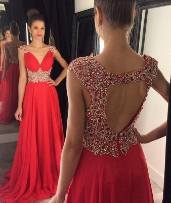 Elegant V-Neck Empire Beading Prom Dress Crystal Open Back Chiffon Evening Gown GA014_1