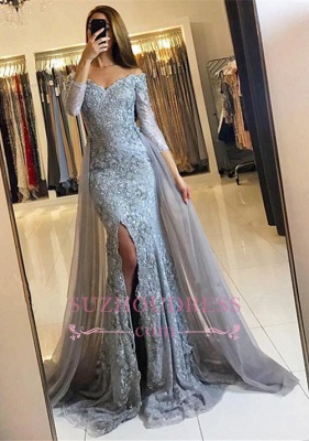 Sweetheart Lace Appliques Evening Gowns  Newest Front Split Long Sleeve Mermaid Prom Dress -BA6240_3