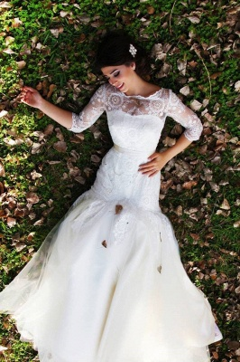 Half Sleeve Mermaid Wedding Dress with Lace Tulle Long Train Bridal Gown_1