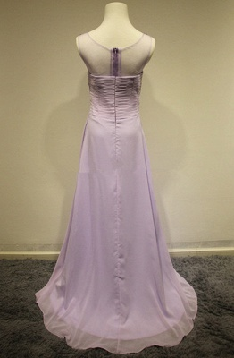 Attractive Crystal Stunning Long Evening Dresses Zipper Tieded Sweep Train  Prom Gowns_2