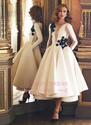 Deep V-Neck Ruffles Long Sleeves Prom Dresses  Sheer Long Puffy Vintage Pockets Evening Dresses BA3505_3