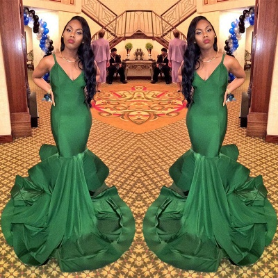 Gorgeous V-Neck Mermaid Evening Gowns Spaghetti Strap  Party Dresses_3