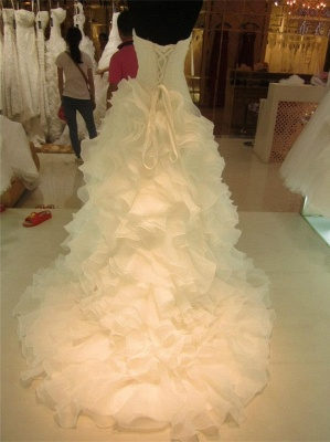 Ruffles Tiered High Quality Wedding Dresses  with Long Train Organza Bridal Dress_2