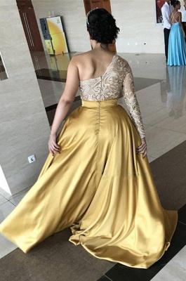 One-Shoulder Lace Evening Dresses   Sweep Train Side Slit Prom Dresses WW0121_5