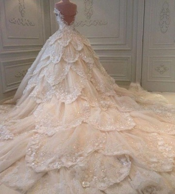 Luxurious Off the Shoulder Beading Wedding Dress Crystal Tiered Chapel Train Bridal Gowns_3