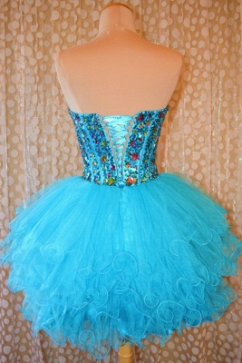 Crytsal Blue Short Organza Homecoming Dress Sweetheart Lace-Up Popular Custom Made Mini Dresses_1
