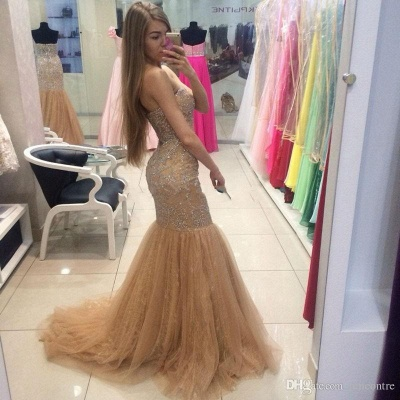 Champagne Prom Dresses Mermaid Silver Beads Crystals Evening Gowns_3