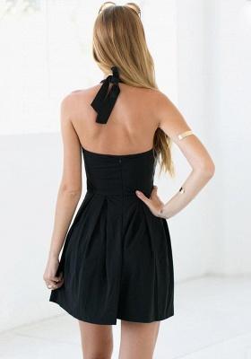 Black Halter Summer Beach Dresses Sleeveless Mini Zipper Homecoming Gowns_3
