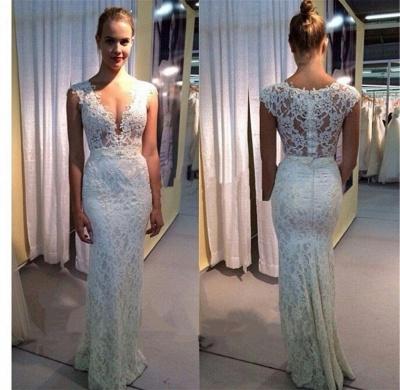Sexy Deep V-Neck Sheath Wedding Dress Lace Zipper Floor Length Bridal Gown JT047_2