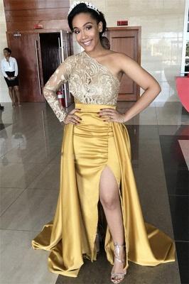 One-Shoulder Lace Evening Dresses | Sweep Train Side Slit Prom Dresses WW0121_6