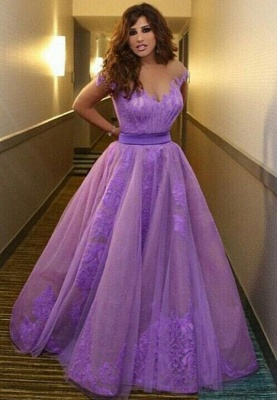 A-Line New Arrival Lavender Long Prom Dress Popular Lace Belt Tulle Dresses for Women_1