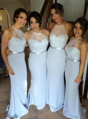Simple Halter Long Wedding Party Dress Mermaid Floor Length Bridesmaid Dresses BO8381_1