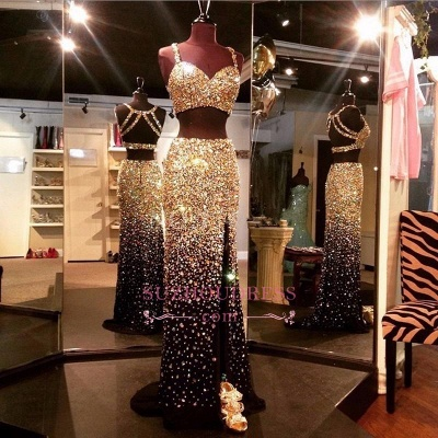 Gold Crystals Two Piece Side Slit Evening Gown Sleeveless Luxury Black Prom Dresses BA5262_1