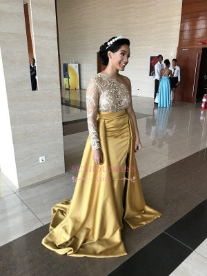 One-Shoulder Lace Evening Dresses   Sweep Train Side Slit Prom Dresses WW0121_4